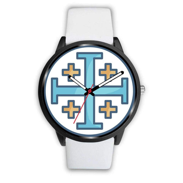 Jerusalem Cross Christian Symbol Custom-Designed Wrist Watch - Mens 40Mm / White Leather - Black Watch