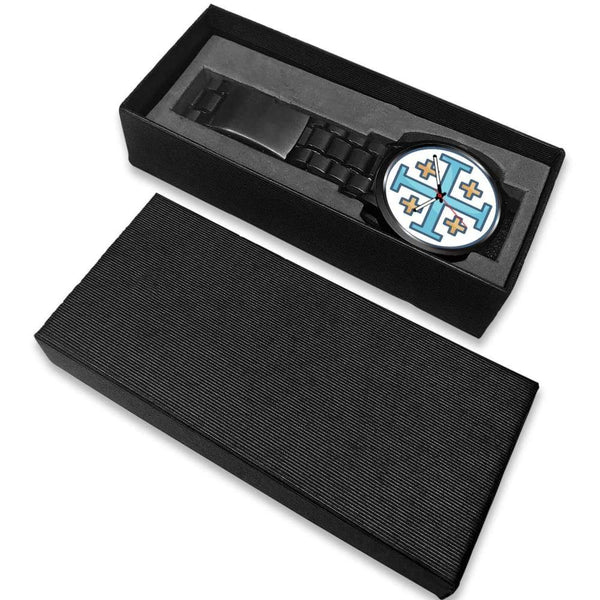 Jerusalem Cross Christian Symbol Custom-Designed Wrist Watch - Black Watch