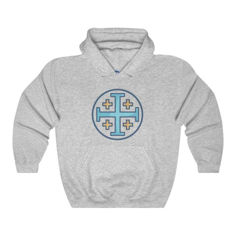 Jerusalem Cross Christian Symbol Unisex Heavy Blend Hooded Sweatshirt - Sport Grey / L - Hoodie