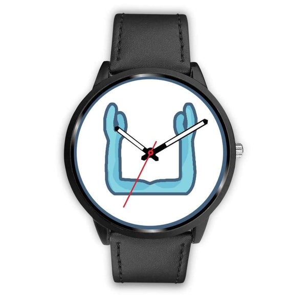 Ka Symbol Ancient Egyptian Symbol Custom-Designed Wrist Watch - Mens 40Mm / Black Leather - Black Watch