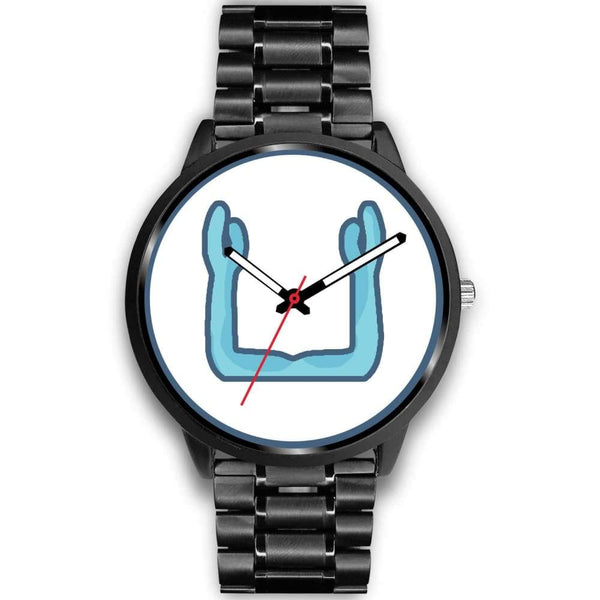 Ka Symbol Ancient Egyptian Symbol Custom-Designed Wrist Watch - Mens 40Mm / Black Metal Link - Black Watch