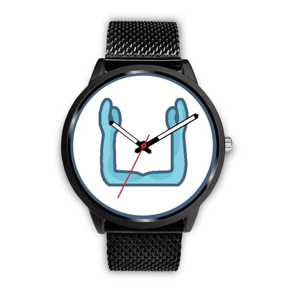 Ka Symbol Ancient Egyptian Symbol Custom-Designed Wrist Watch - Mens 40Mm / Black Metal Mesh - Black Watch