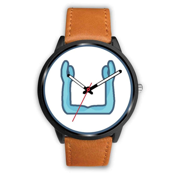 Ka Symbol Ancient Egyptian Symbol Custom-Designed Wrist Watch - Mens 40Mm / Brown Leather - Black Watch