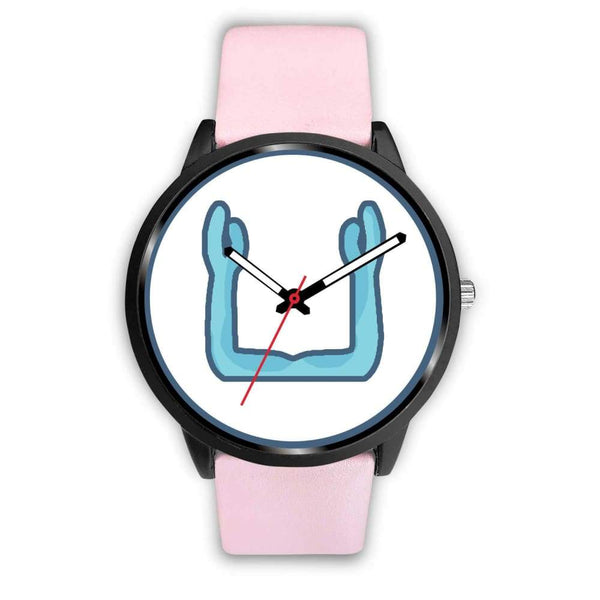 Ka Symbol Ancient Egyptian Symbol Custom-Designed Wrist Watch - Mens 40Mm / Pink Leather - Black Watch