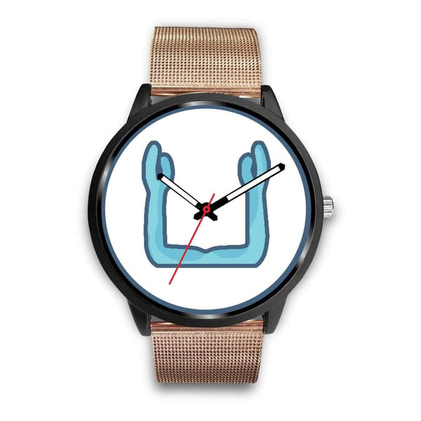 Ka Symbol Ancient Egyptian Symbol Custom-Designed Wrist Watch - Mens 40Mm / Rose Gold Metal Mesh - Black Watch