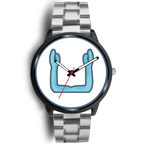 Ka Symbol Ancient Egyptian Symbol Custom-Designed Wrist Watch - Mens 40Mm / Silver Metal Link - Black Watch