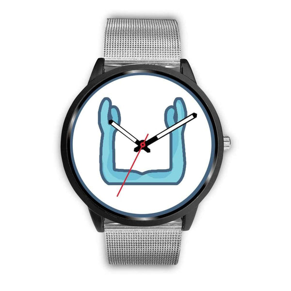 Ka Symbol Ancient Egyptian Symbol Custom-Designed Wrist Watch - Mens 40Mm / Silver Metal Mesh - Black Watch