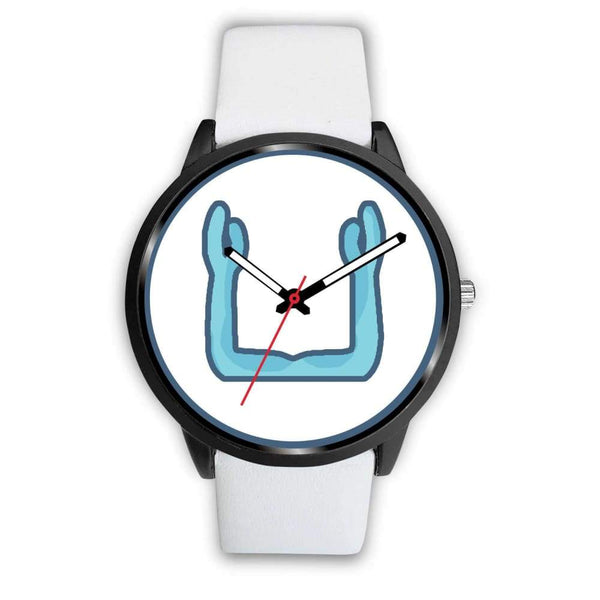 Ka Symbol Ancient Egyptian Symbol Custom-Designed Wrist Watch - Mens 40Mm / White Leather - Black Watch