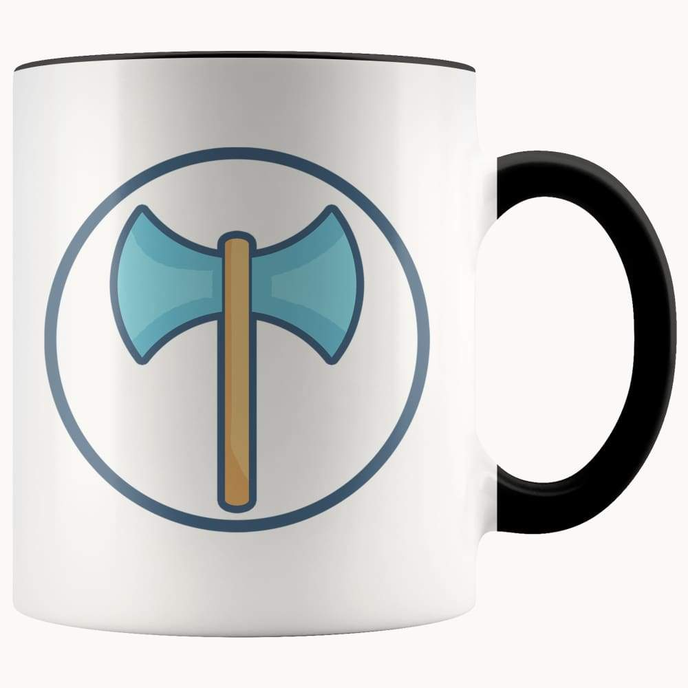 Labrys Ancient Greek Double Sided Axe Symbol 11Oz. Ceramic White Mug - Black - Drinkware