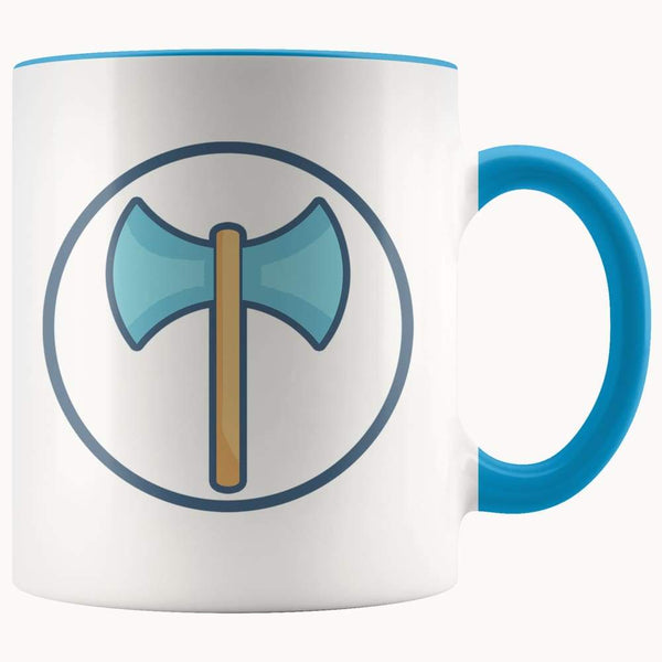 Labrys Ancient Greek Double Sided Axe Symbol 11Oz. Ceramic White Mug - Blue - Drinkware