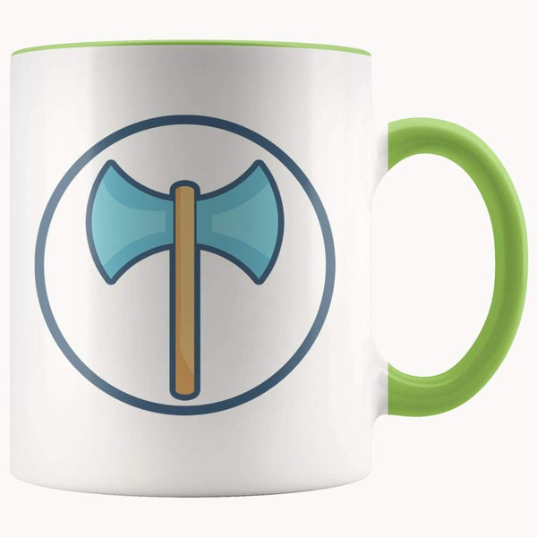 Labrys Ancient Greek Double Sided Axe Symbol 11Oz. Ceramic White Mug - Green - Drinkware