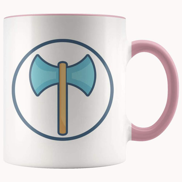 Labrys Ancient Greek Double Sided Axe Symbol 11Oz. Ceramic White Mug - Pink - Drinkware