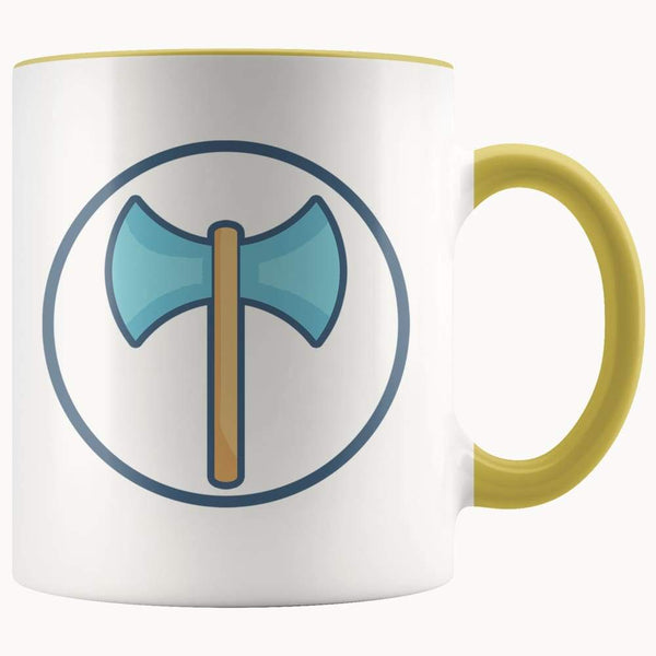 Labrys Ancient Greek Double Sided Axe Symbol 11Oz. Ceramic White Mug - Yellow - Drinkware