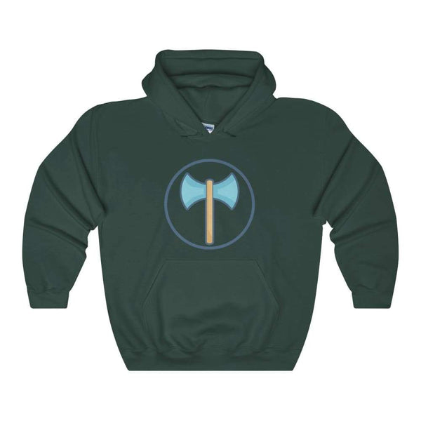 Labrys Double Sided Axe Ancient Greek Symbol Unisex Heavy Blend Hooded Sweatshirt - Forest Green / S - Hoodie