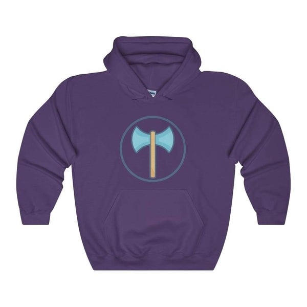 Labrys Double Sided Axe Ancient Greek Symbol Unisex Heavy Blend Hooded Sweatshirt - Purple / S - Hoodie