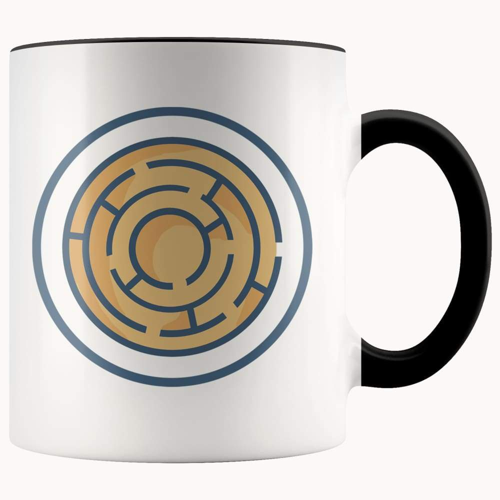 Labyrinth Maze Ancient Greek Symbol 11Oz. Ceramic White Mug - Black - Drinkware