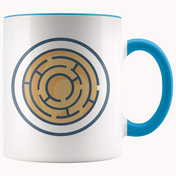 Labyrinth Maze Ancient Greek Symbol 11Oz. Ceramic White Mug - Blue - Drinkware