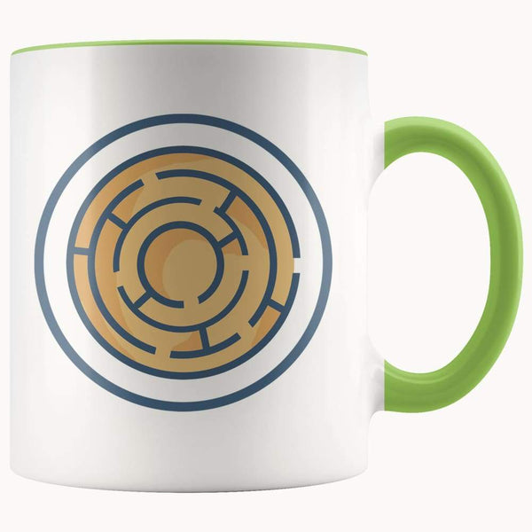Labyrinth Maze Ancient Greek Symbol 11Oz. Ceramic White Mug - Green - Drinkware