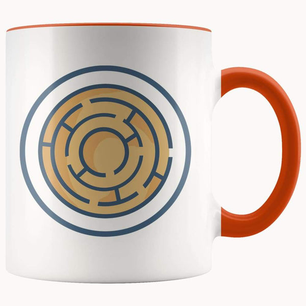 Labyrinth Maze Ancient Greek Symbol 11Oz. Ceramic White Mug - Orange - Drinkware