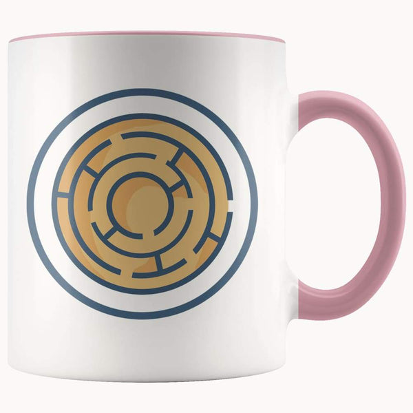 Labyrinth Maze Ancient Greek Symbol 11Oz. Ceramic White Mug - Pink - Drinkware