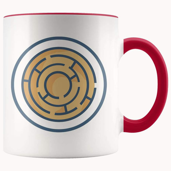 Labyrinth Maze Ancient Greek Symbol 11Oz. Ceramic White Mug - Red - Drinkware