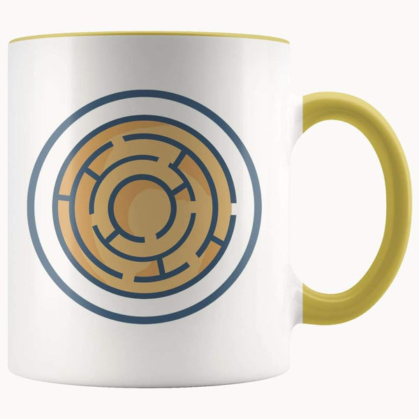 Labyrinth Maze Ancient Greek Symbol 11Oz. Ceramic White Mug - Yellow - Drinkware
