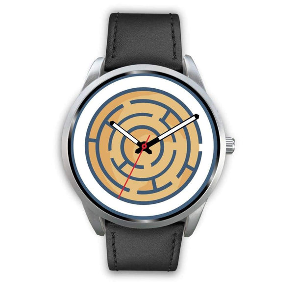 Labyrinth Maze Ancient Greek Symbol Custom-Designed Wrist Watch - Mens 40Mm / Black Leather - Silver Watch