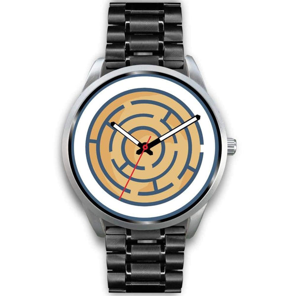 Labyrinth Maze Ancient Greek Symbol Custom-Designed Wrist Watch - Mens 40Mm / Black Metal Link - Silver Watch
