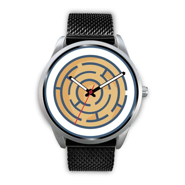 Labyrinth Maze Ancient Greek Symbol Custom-Designed Wrist Watch - Mens 40Mm / Black Metal Mesh - Silver Watch
