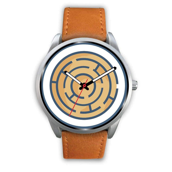 Labyrinth Maze Ancient Greek Symbol Custom-Designed Wrist Watch - Mens 40Mm / Brown Leather - Silver Watch