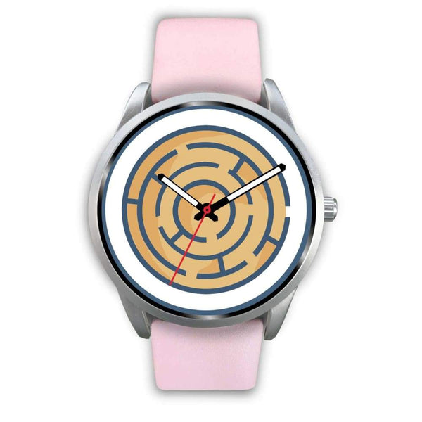 Labyrinth Maze Ancient Greek Symbol Custom-Designed Wrist Watch - Mens 40Mm / Pink Leather - Silver Watch