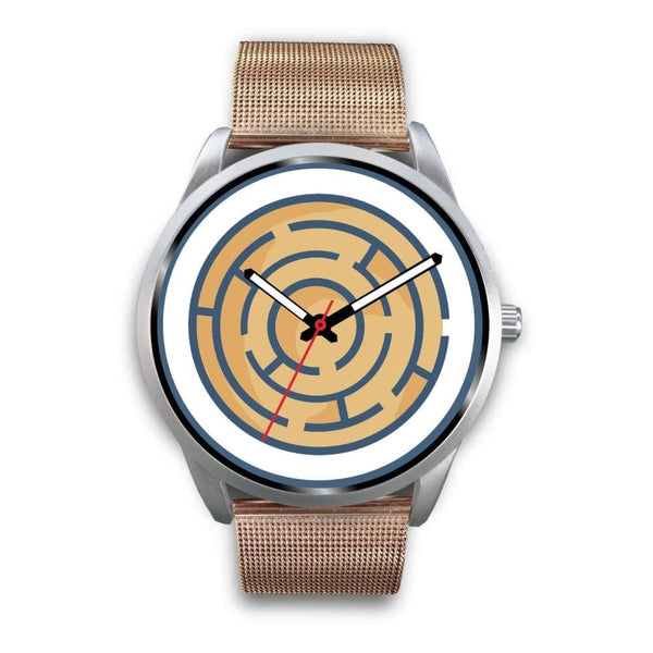Labyrinth Maze Ancient Greek Symbol Custom-Designed Wrist Watch - Mens 40Mm / Rose Gold Metal Mesh - Silver Watch