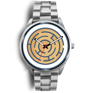 Labyrinth Maze Ancient Greek Symbol Custom-Designed Wrist Watch - Mens 40Mm / Silver Metal Link - Silver Watch