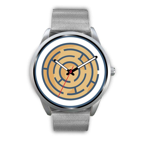 Labyrinth Maze Ancient Greek Symbol Custom-Designed Wrist Watch - Mens 40Mm / Silver Metal Mesh - Silver Watch