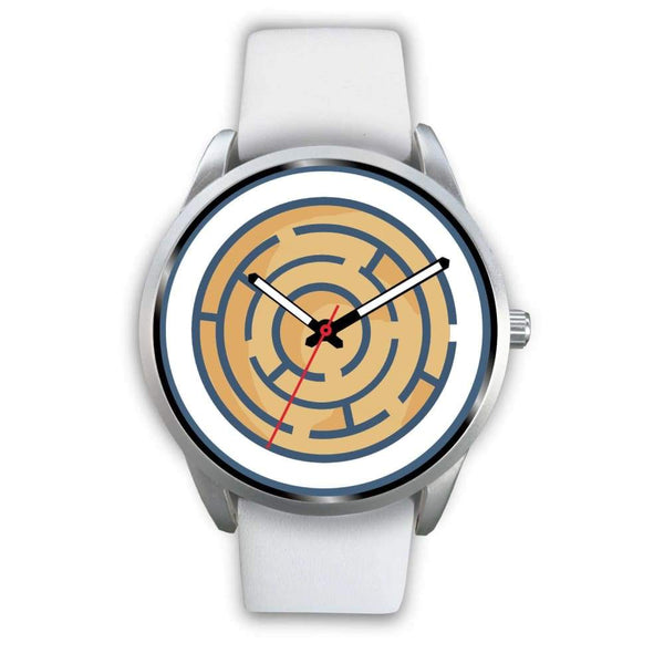 Labyrinth Maze Ancient Greek Symbol Custom-Designed Wrist Watch - Mens 40Mm / White Leather - Silver Watch
