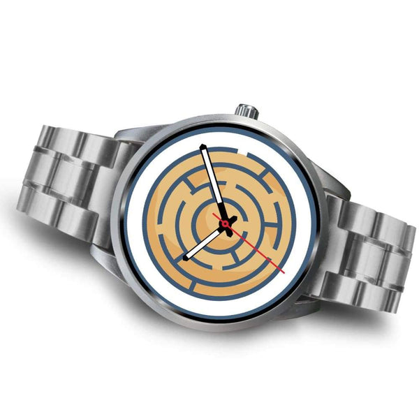 Labyrinth Maze Ancient Greek Symbol Custom-Designed Wrist Watch - Silver Watch