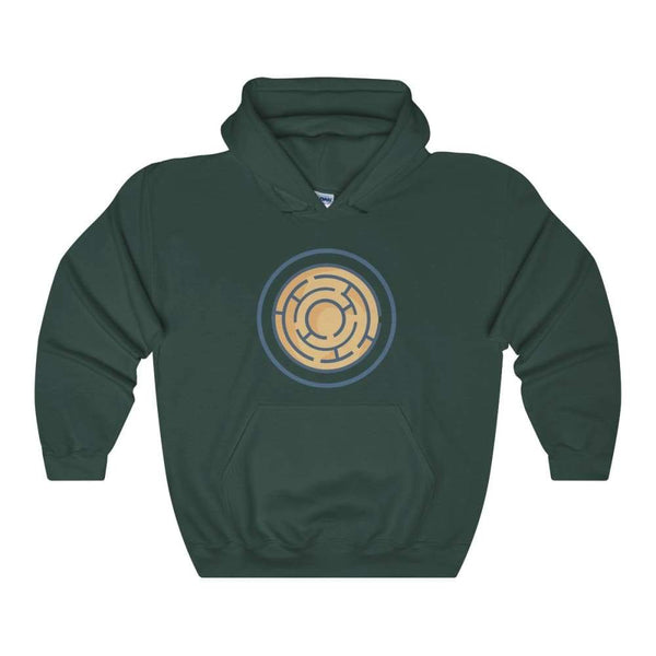 Labyrinth Maze Ancient Greek Symbol Unisex Heavy Blend Hooded Sweatshirt - Forest Green / S - Hoodie