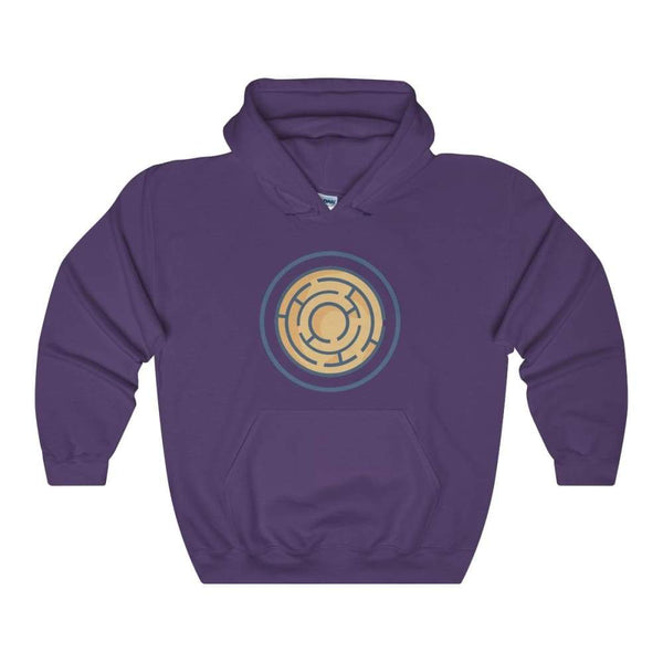 Labyrinth Maze Ancient Greek Symbol Unisex Heavy Blend Hooded Sweatshirt - Purple / S - Hoodie