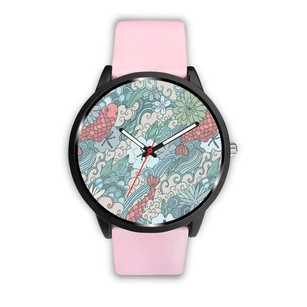 Lotus Flower And Coy Carp Buddhist Style Design Custom-Designed Wrist Watch - Mens 40Mm / Pink - Watch