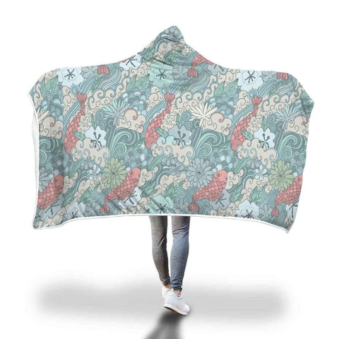 Lotus Flower And Coy Carp Buddhist Style Design Hooded Snuggle Meditation Blanket - Hooded Blanket