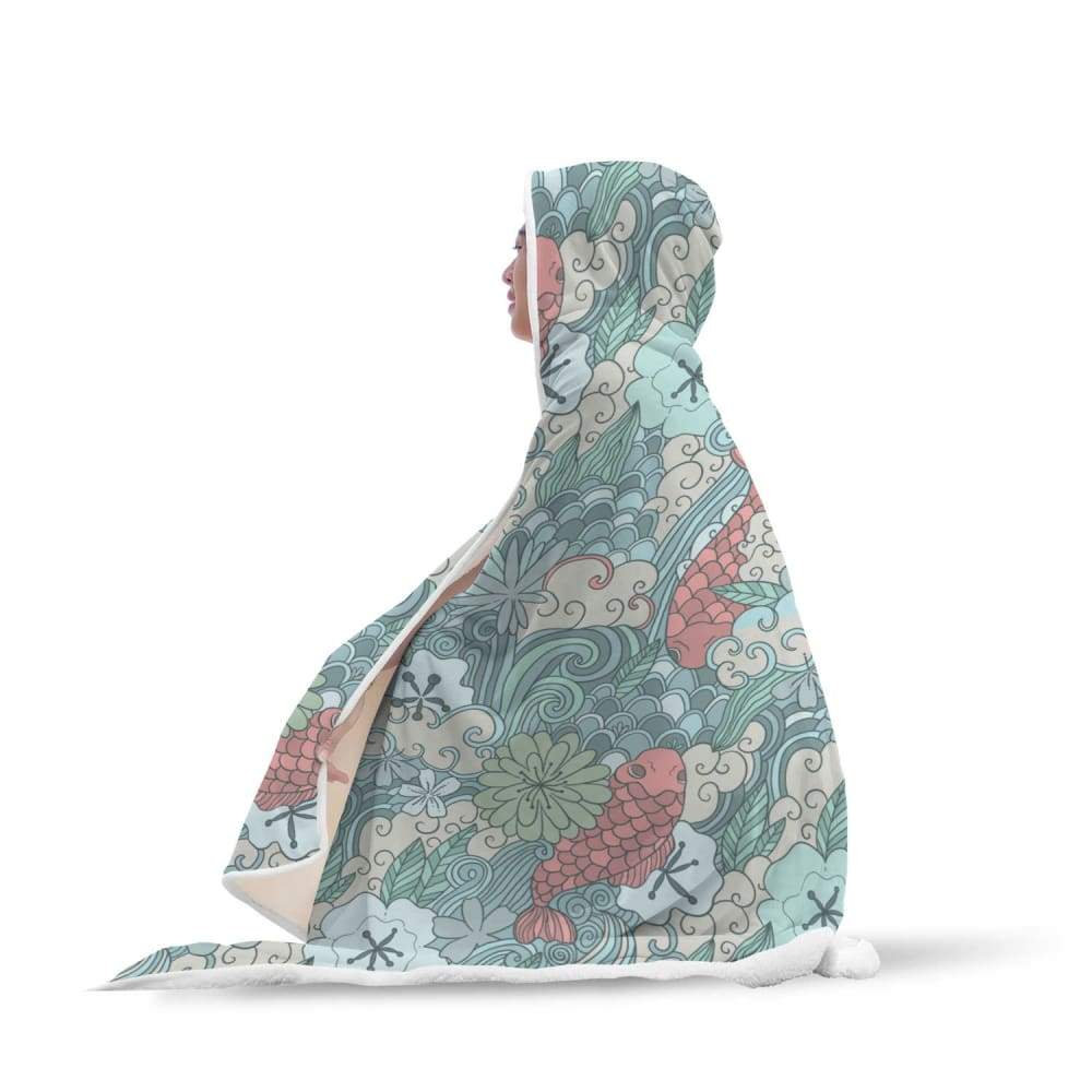 The Ancient Symbol - Lotus Flower and Coy Carp Buddhist Style Design Hooded  Snuggle Meditation Blanket Free Shipping