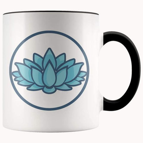 Lotus Flower Buddhist Hindu Symbol 11Oz. Ceramic White Mug - Black - Drinkware