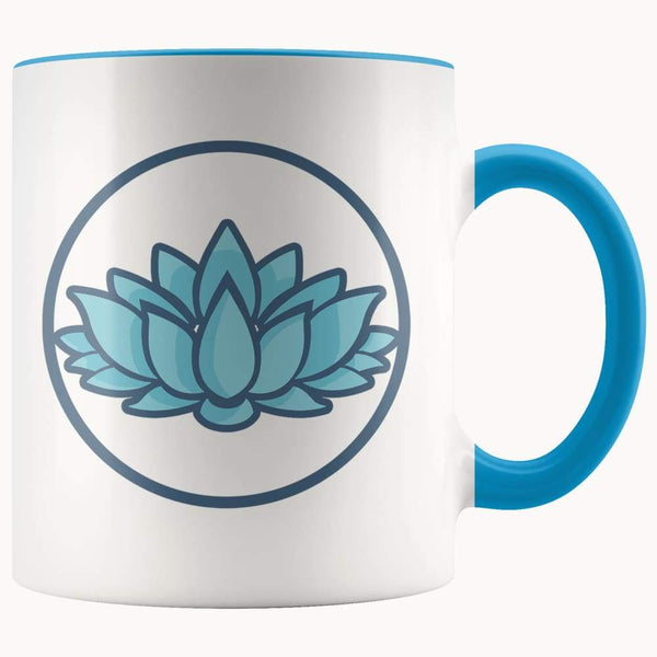 Lotus Flower Buddhist Hindu Symbol 11Oz. Ceramic White Mug - Blue - Drinkware