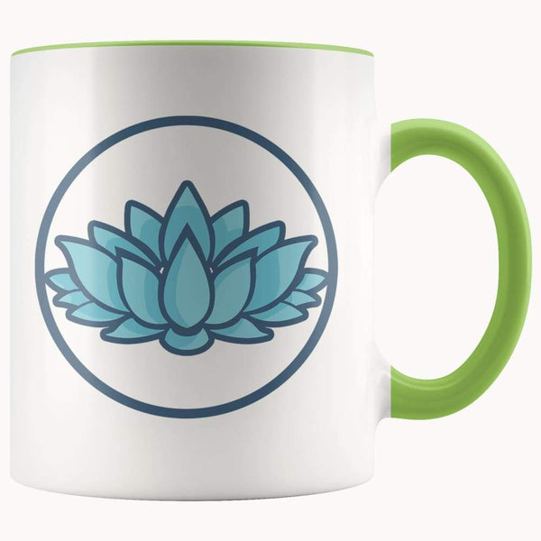 Lotus Flower Buddhist Hindu Symbol 11Oz. Ceramic White Mug - Green - Drinkware
