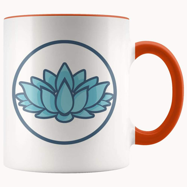 Lotus Flower Buddhist Hindu Symbol 11Oz. Ceramic White Mug - Orange - Drinkware