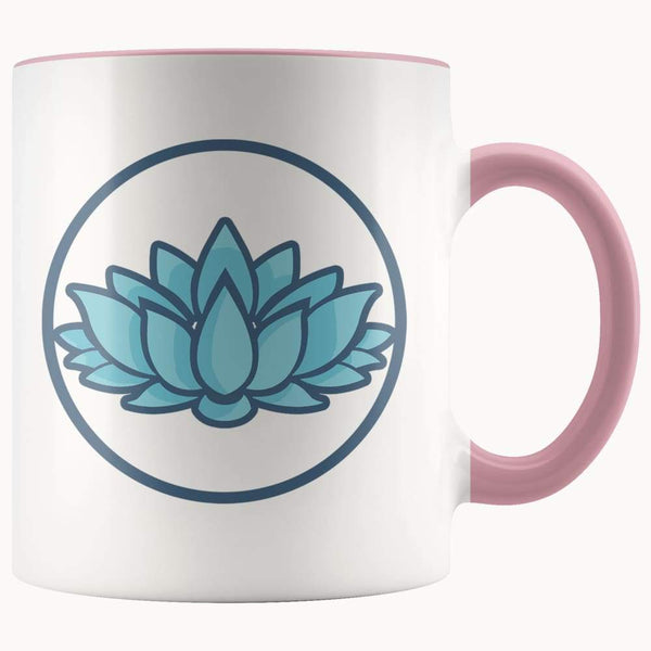 Lotus Flower Buddhist Hindu Symbol 11Oz. Ceramic White Mug - Pink - Drinkware