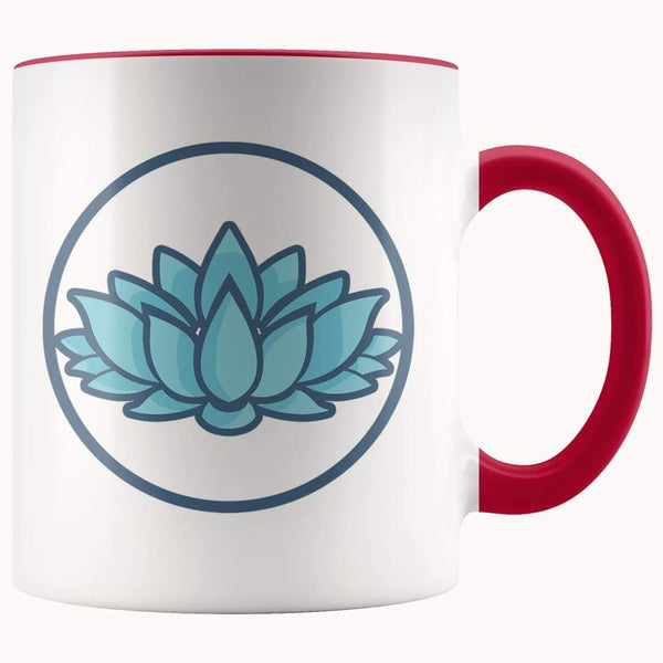 Lotus Flower Buddhist Hindu Symbol 11Oz. Ceramic White Mug - Red - Drinkware