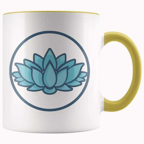 Lotus Flower Buddhist Hindu Symbol 11Oz. Ceramic White Mug - Yellow - Drinkware