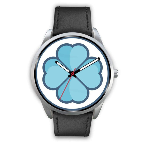 Lucky Clover Shamrock Symbol Custom-Designed Wrist Watch - Mens 40Mm / Black Leather - Silver Watch