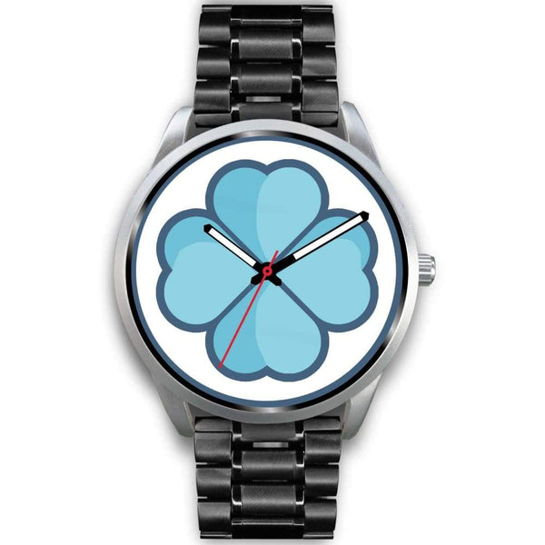 Lucky Clover Shamrock Symbol Custom-Designed Wrist Watch - Mens 40Mm / Black Metal Link - Silver Watch